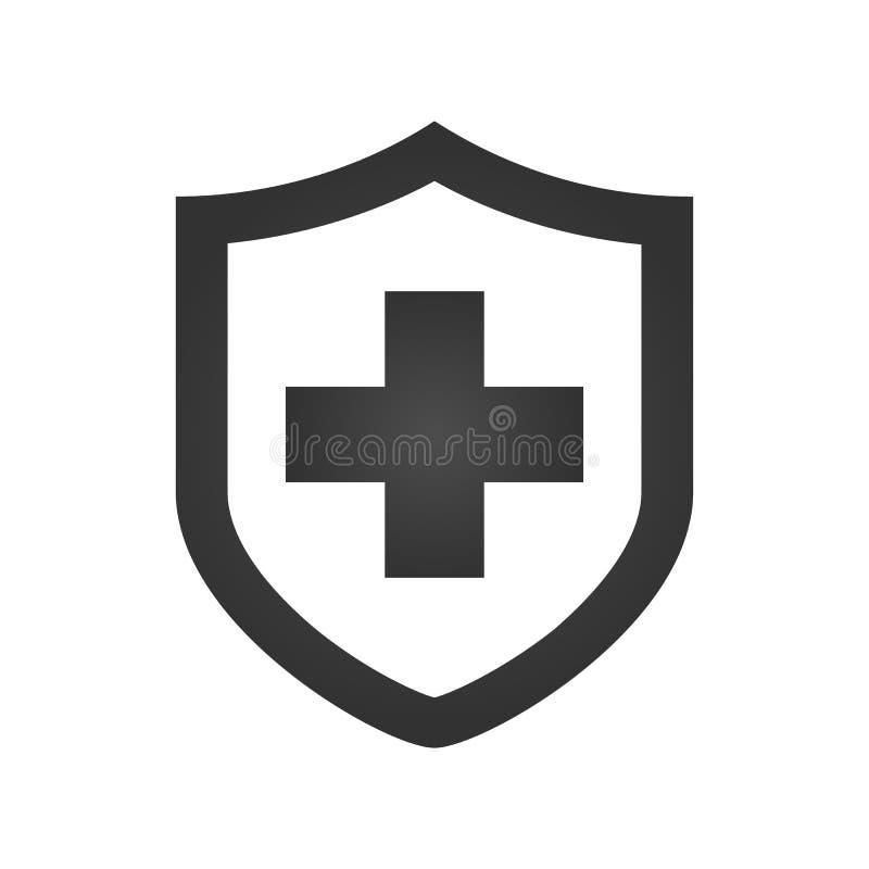 Medicinsk sköld med den arga symbolen Svart pictogram Modern plan designillustration, nytt begrepp för rengöringsdukbaner, webbpl royaltyfri illustrationer