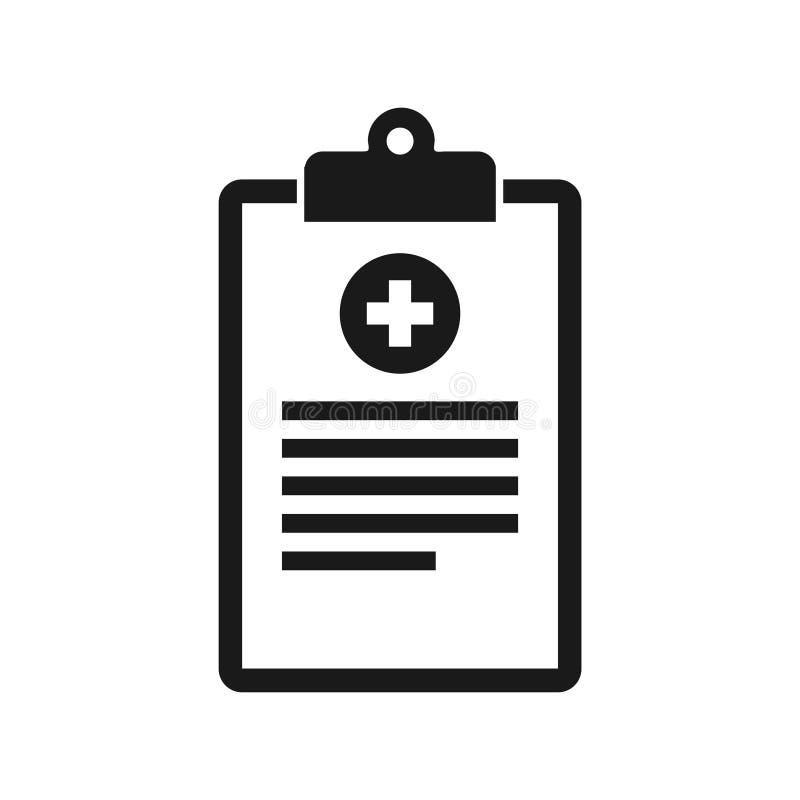 Medicinsk skrivplattasymbol för plan stil stock illustrationer