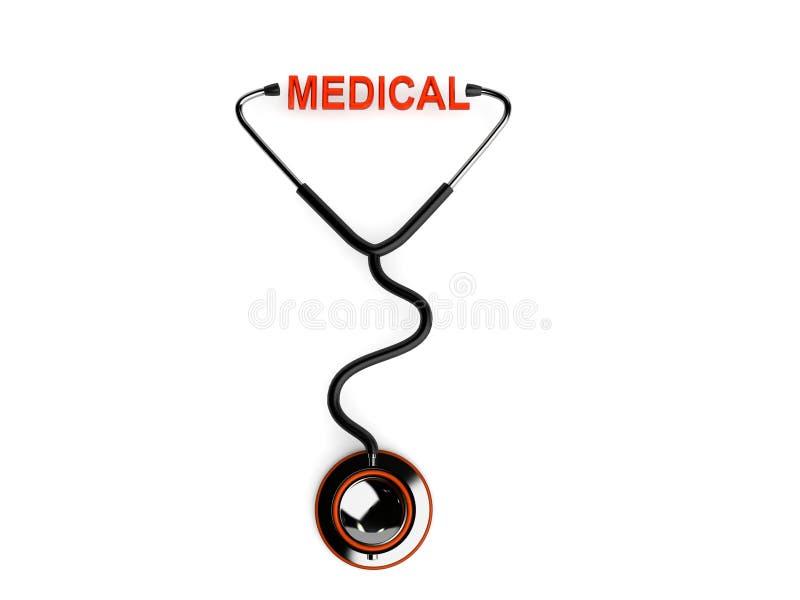 medicinsk stetoskoptext royaltyfri illustrationer