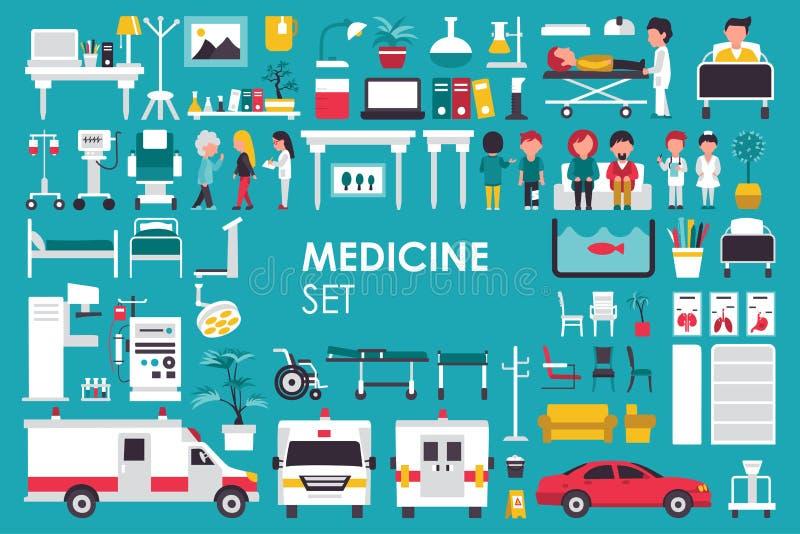 Medicinsk stor samling i plant designbakgrundsbegrepp Infographic beståndsdeluppsättning med doktorn och sjuksköterskan för sjukh vektor illustrationer