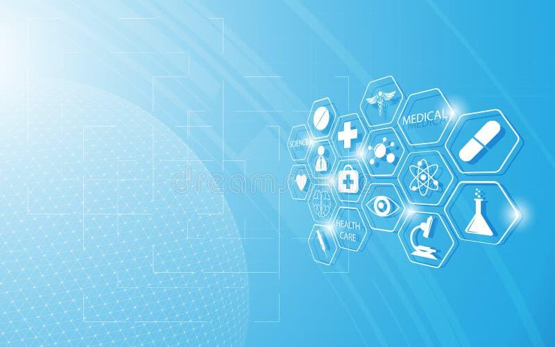 Medicinsk symbol för abstrakt hälsovård på blå innovationbegreppsbakgrund royaltyfri illustrationer