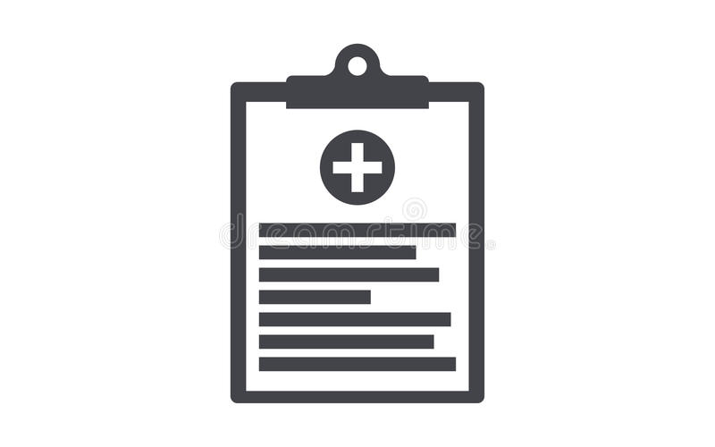 Medicinsk symbol för skrivplattalägenhetvektor royaltyfri illustrationer