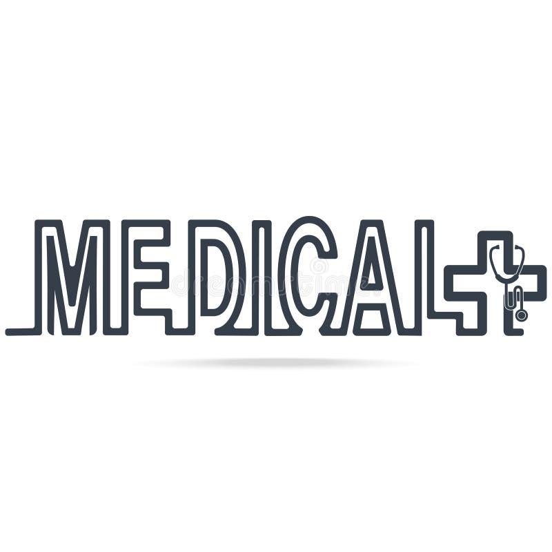 Medicinsk symbol, text och stetoskoplinje stilsymbol vektor illustrationer