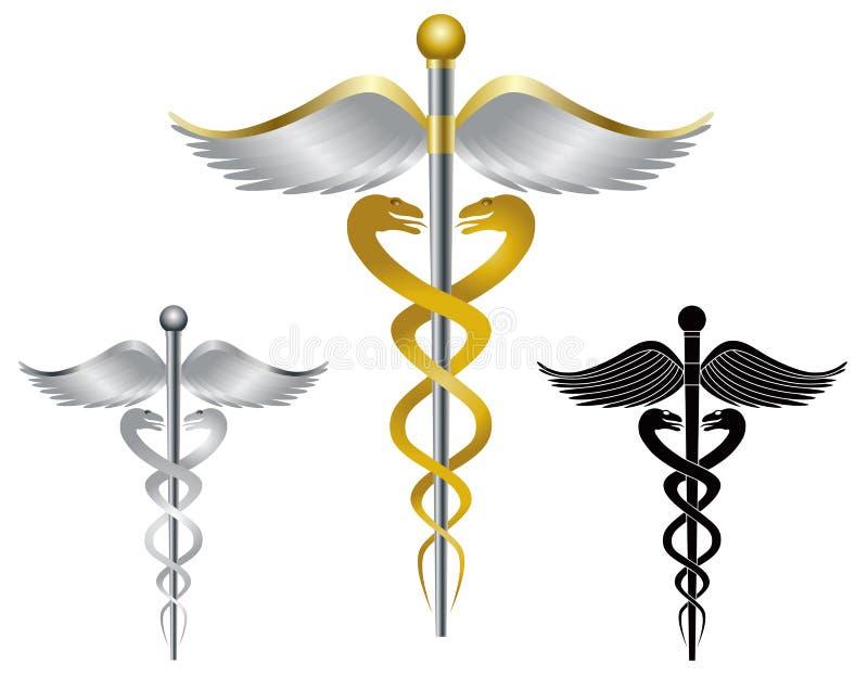 Medicinsk symbolillustration för Caduceus royaltyfri illustrationer