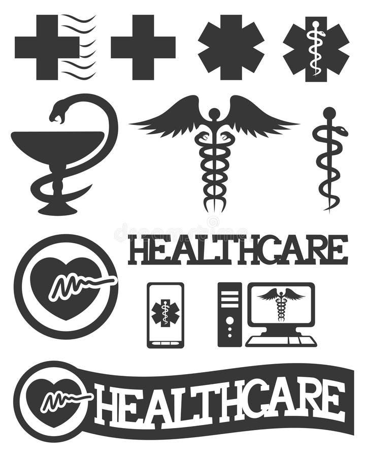 Medicinsk symbolsuppsättning. royaltyfri illustrationer