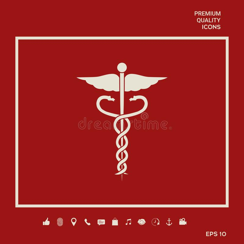 Medicinsk symbolsymbol för Caduceus Grafiska beståndsdelar för din design vektor illustrationer