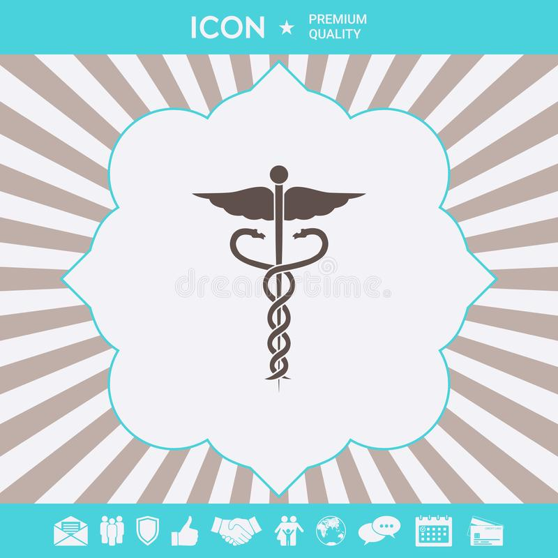 Medicinsk symbolsymbol för Caduceus Grafiska beståndsdelar för din design stock illustrationer