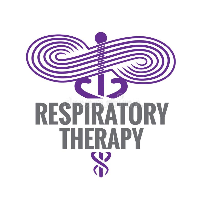 Medicinsk symbolsymbol för respiratorisk terapi - för RRT, RT eller CRT vektor illustrationer