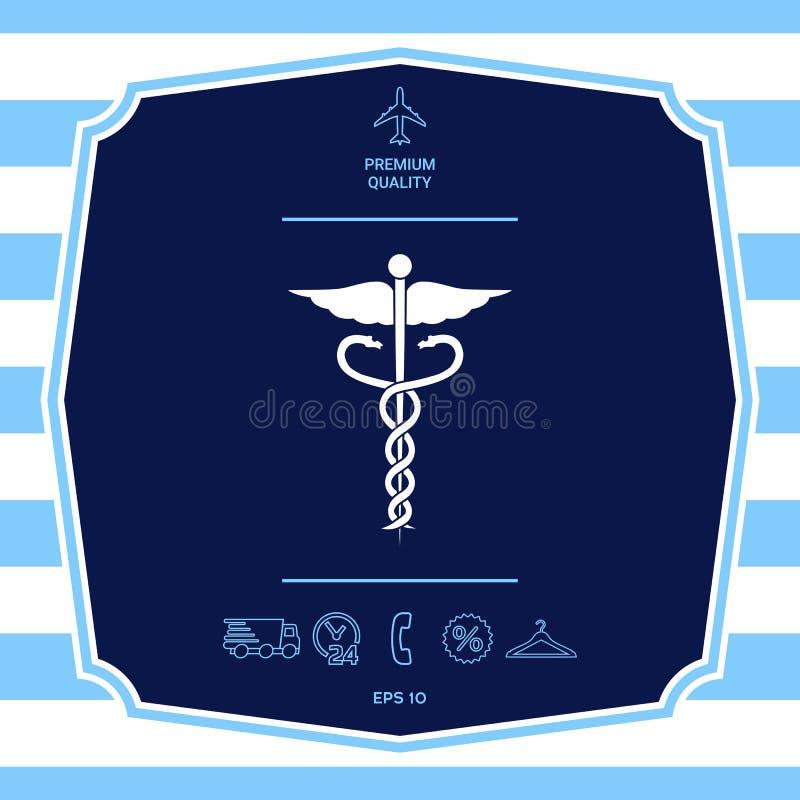 Medicinsk symbolsymbol f?r Caduceus Grafiska best?ndsdelar f?r din design royaltyfri illustrationer