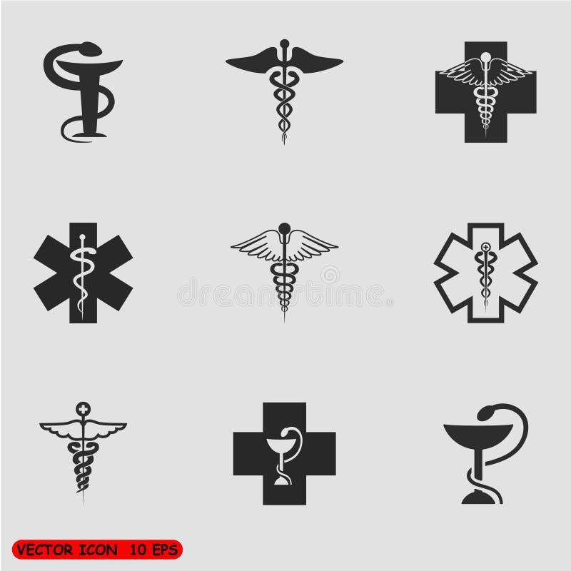 Medicinsk symboluppsättning vektor stock illustrationer