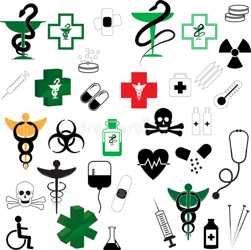 medicinsk symbolvektor för samling royaltyfri illustrationer