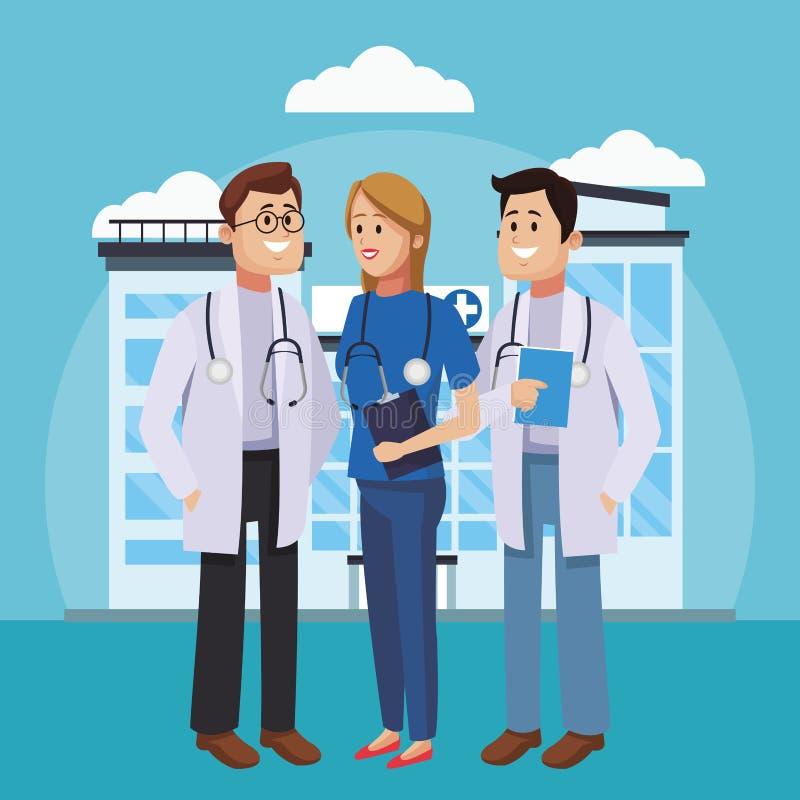 Medicinsk teamworktecknad film vektor illustrationer