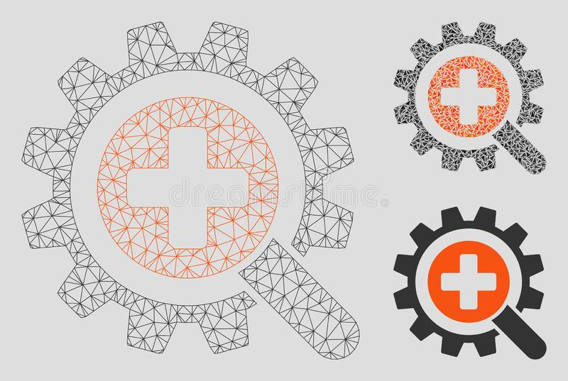 Medicinsk teknologivektor Mesh Carcass Model för fynd och mosaisk symbol för triangel stock illustrationer