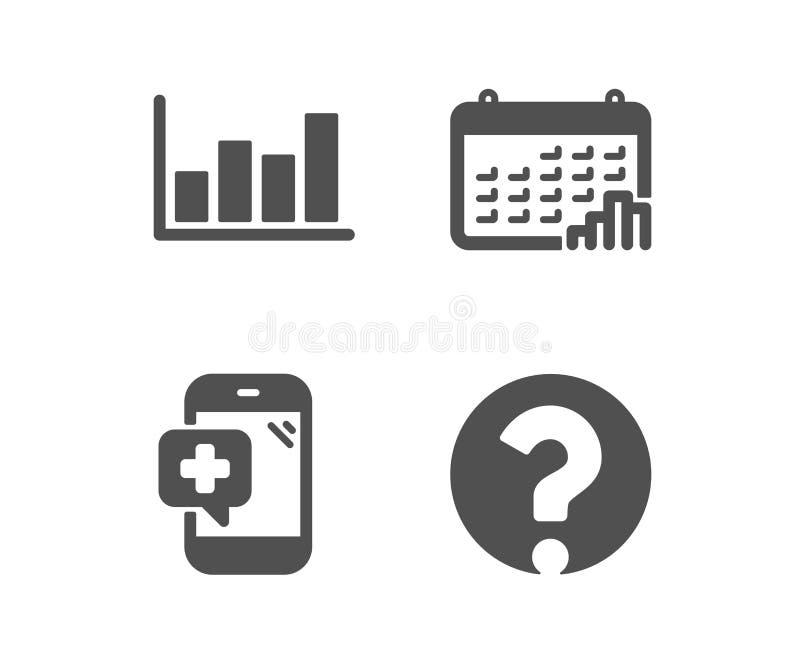 Medicinsk telefon, rapportdiagram och kalendergrafsymboler markera frågetecknet vektor vektor illustrationer