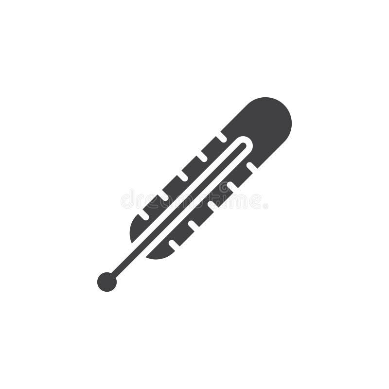 Medicinsk termometersymbolsvektor, fyllt plant tecken, fast pictogram som isoleras på vit royaltyfri illustrationer