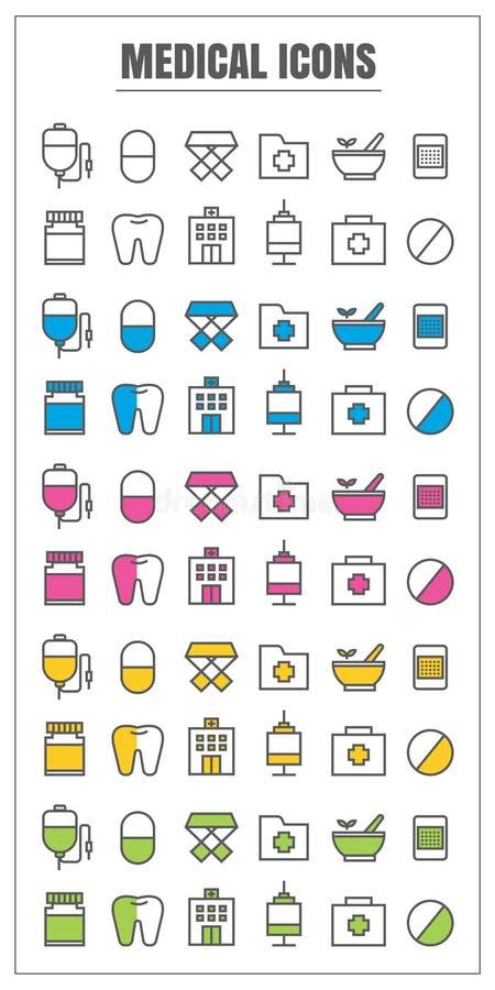 Medicinsk tunn linje vecto för symboler för gul gräsplan för färgsvartblått rosa royaltyfri illustrationer