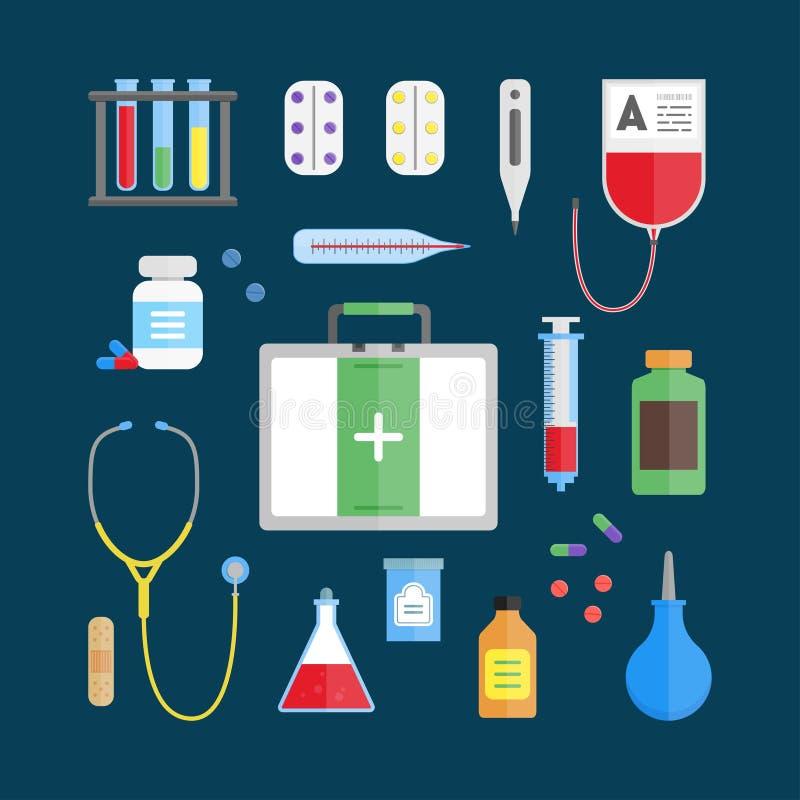 Medicinsk uppsättning för sjukvårdutrustningsymbol vektor vektor illustrationer