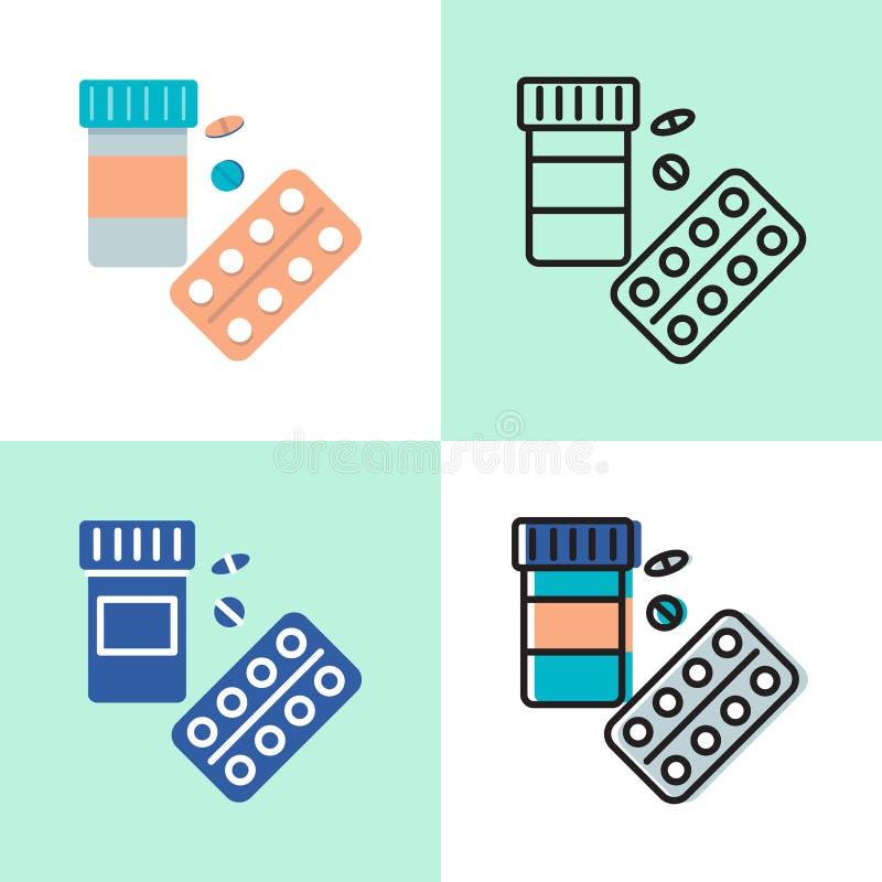 Medicinsk uppsättning för symbol för pillerflaska i lägenheten och linjen stil stock illustrationer