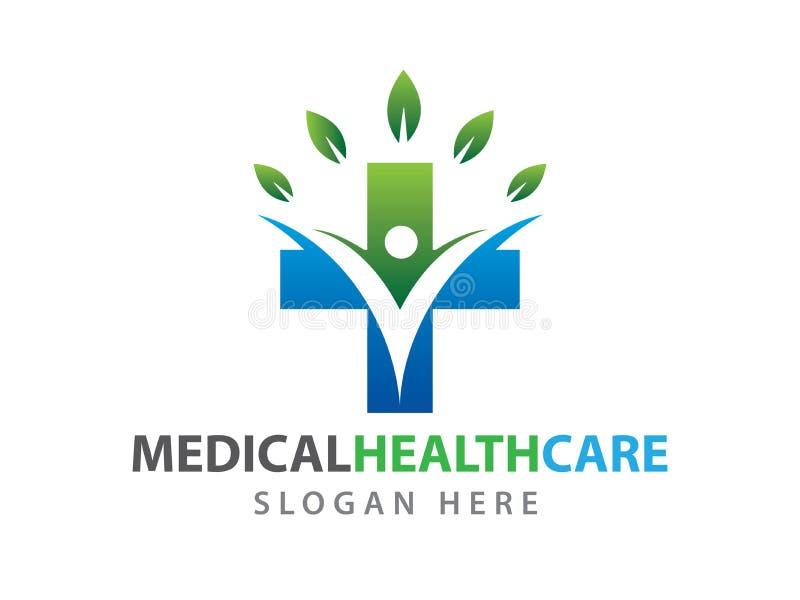 Medicinsk vård- illustration för logo för wellnessklinikvektor vektor illustrationer