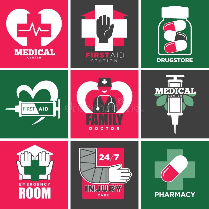Medicinsk vård och apotek, familjdoktor och apotekvektor stock illustrationer