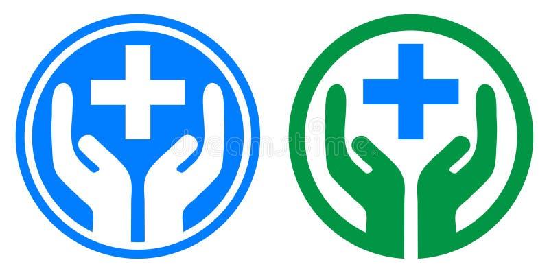 Medicinsk vårdhand plus logo stock illustrationer