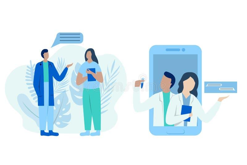 Medicinsk vektorillustration Doktorssamtal Två företagsläkare som talar, hjälpande patienter, svarande frågor Plan stil royaltyfri illustrationer