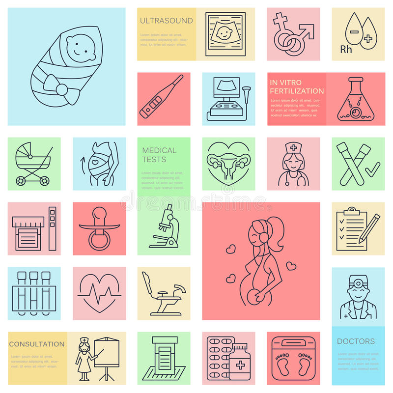 Medicinsk vektorlinje symbol av havandeskap och kvinnahälsa Beståndsdelar - gynekologistol, moderskap, reproduktion, havandeskapk vektor illustrationer