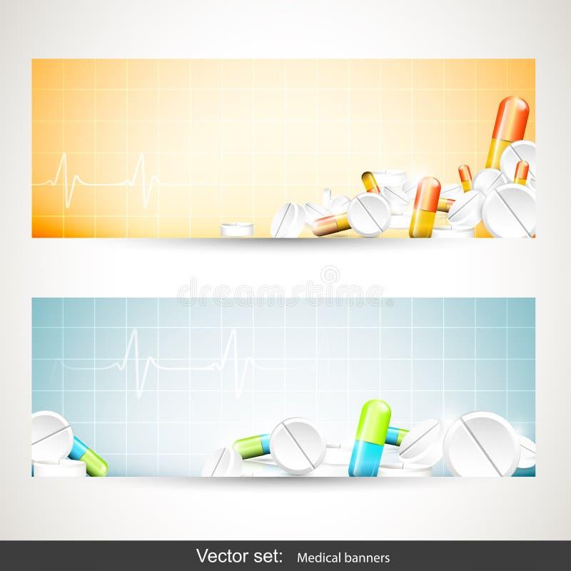 Medicinska baner stock illustrationer
