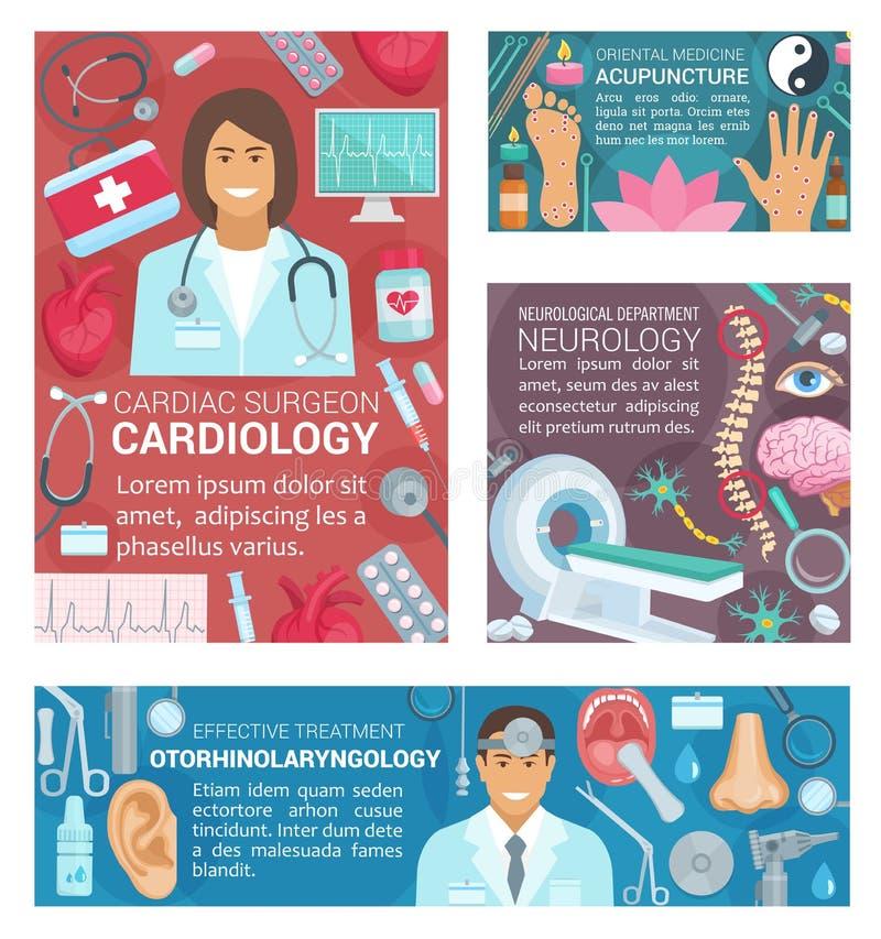 Medicinska baner för sjukhusservice och doktorer vektor illustrationer