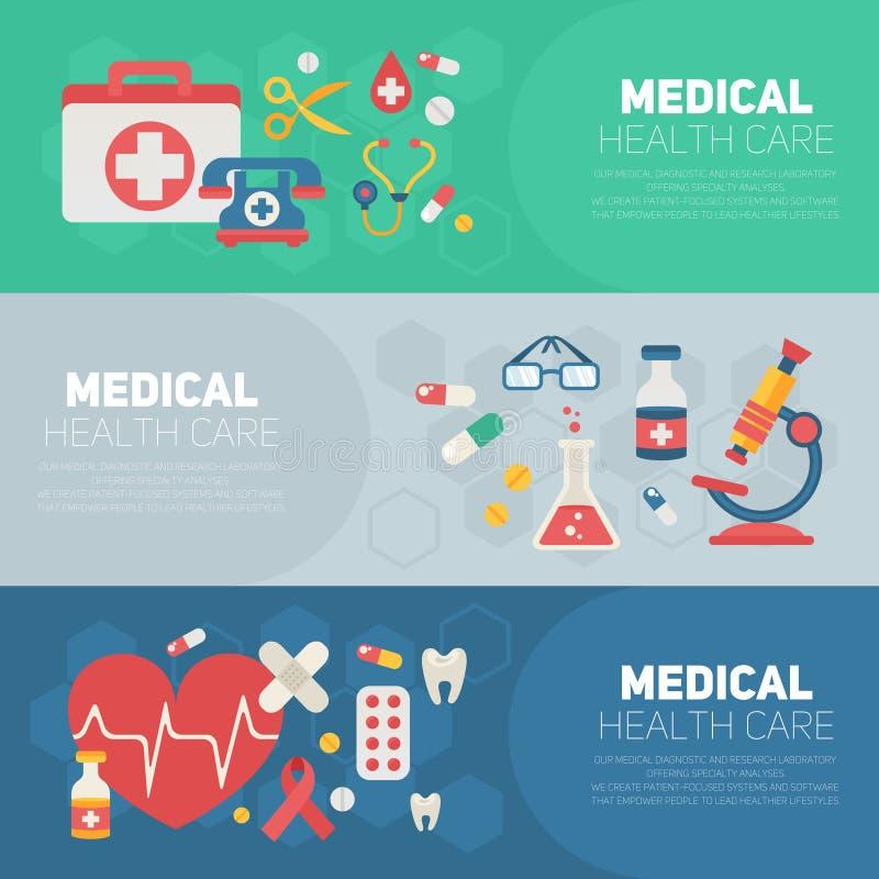 Medicinska banermallar i moderiktig plan stil royaltyfri illustrationer