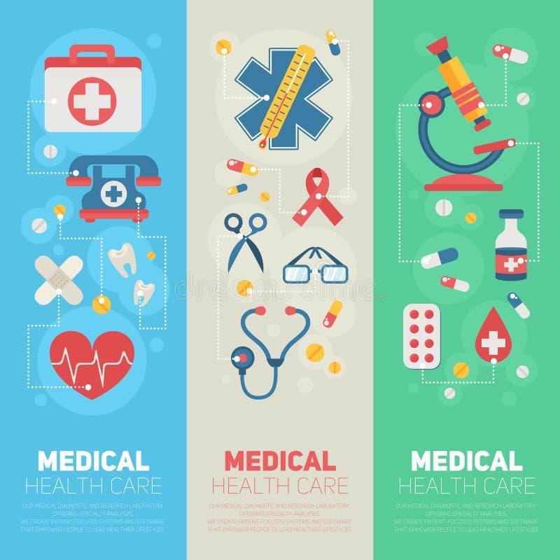 Medicinska banermallar i moderiktig plan stil vektor illustrationer