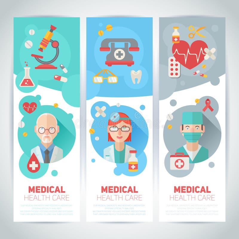 Medicinska doktorer sänker stående på baner vektor illustrationer