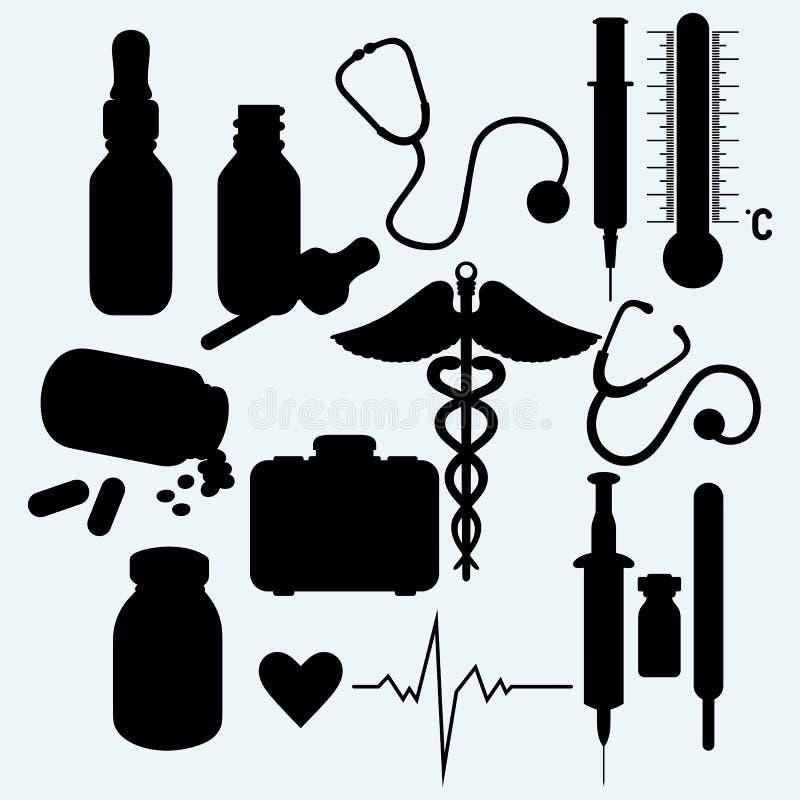 Medicinska förnödenheter och utrustning stock illustrationer