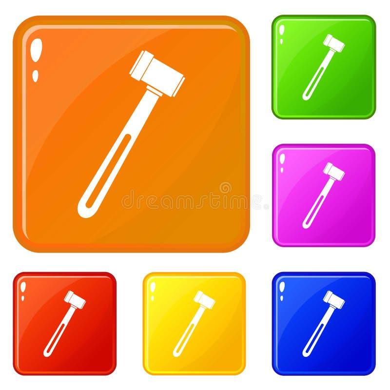 Medicinska hammaresymboler ställde in vektorfärg royaltyfri illustrationer