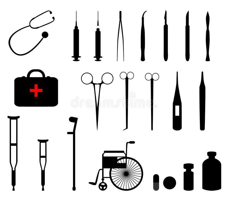 medicinska hjälpmedel stock illustrationer