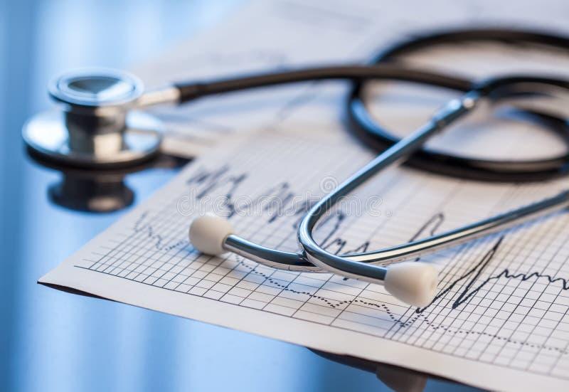 medicinska hjälpmedel Stetoskop och kardiogram på en tabell royaltyfri fotografi