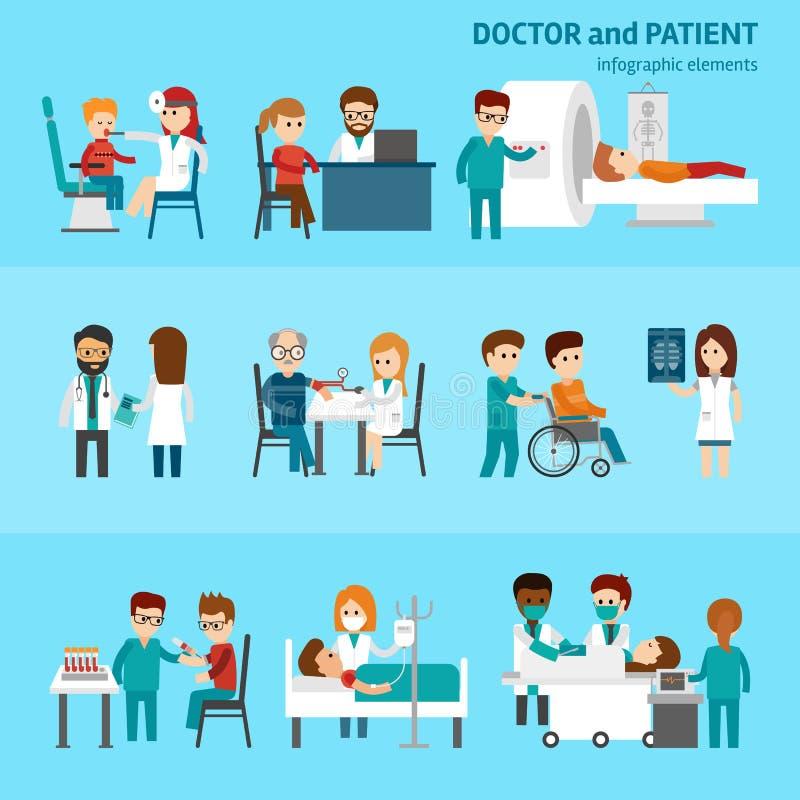 Medicinska infographic beståndsdelar med doktors- och patientbehandlingar och plana pictograms för undersökning med sjukvårdsymbo stock illustrationer