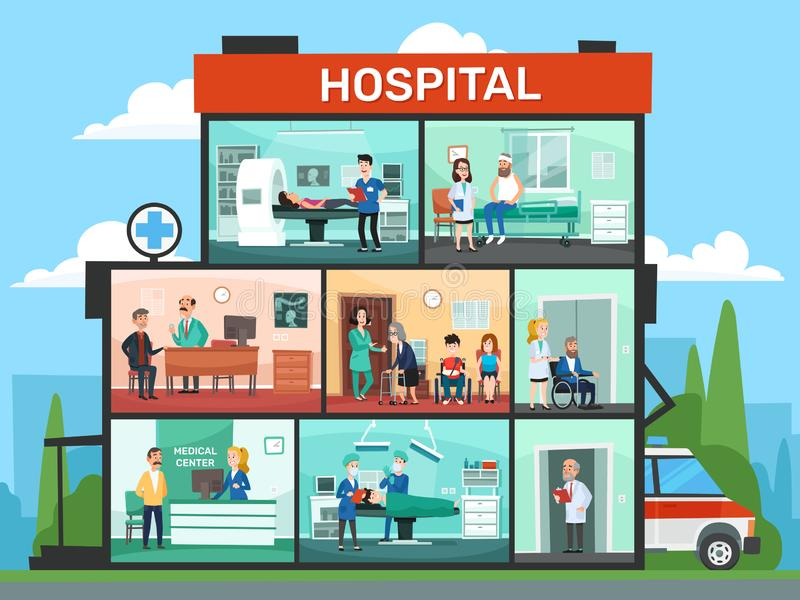 Medicinska kontorsrum Sjukhusbyggnadsinre, väntande rum för nöd- klinikdoktor och kirurgidoktorstecknad film royaltyfri illustrationer