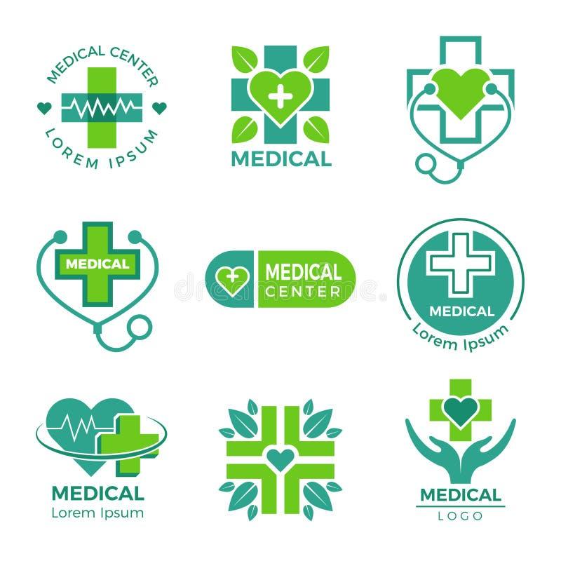 Medicinska logotyper Medicinapotekkliniken eller sjukhuskorset plus hälsovårdvektorsymboler planlägger mallen vektor illustrationer