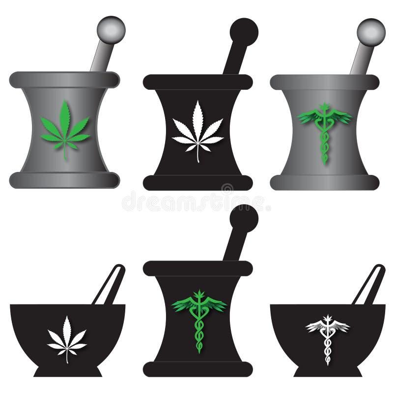 medicinska mortelpestals för marijuana royaltyfri illustrationer