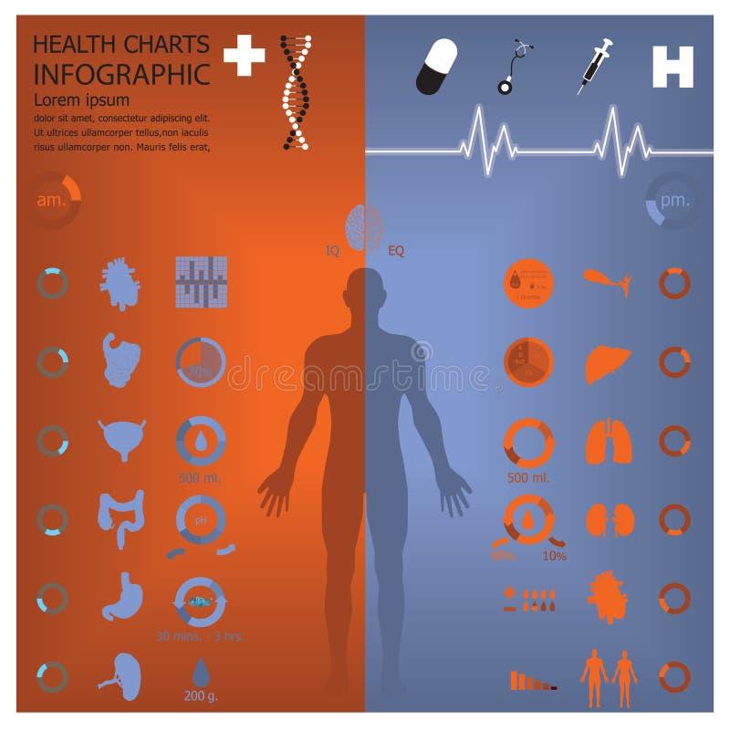 Medicinska och vård- Infographic Infochart royaltyfri illustrationer