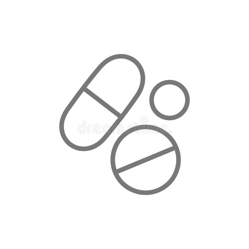 Medicinska piller, vård- minnestavla, droglinje symbol vektor illustrationer