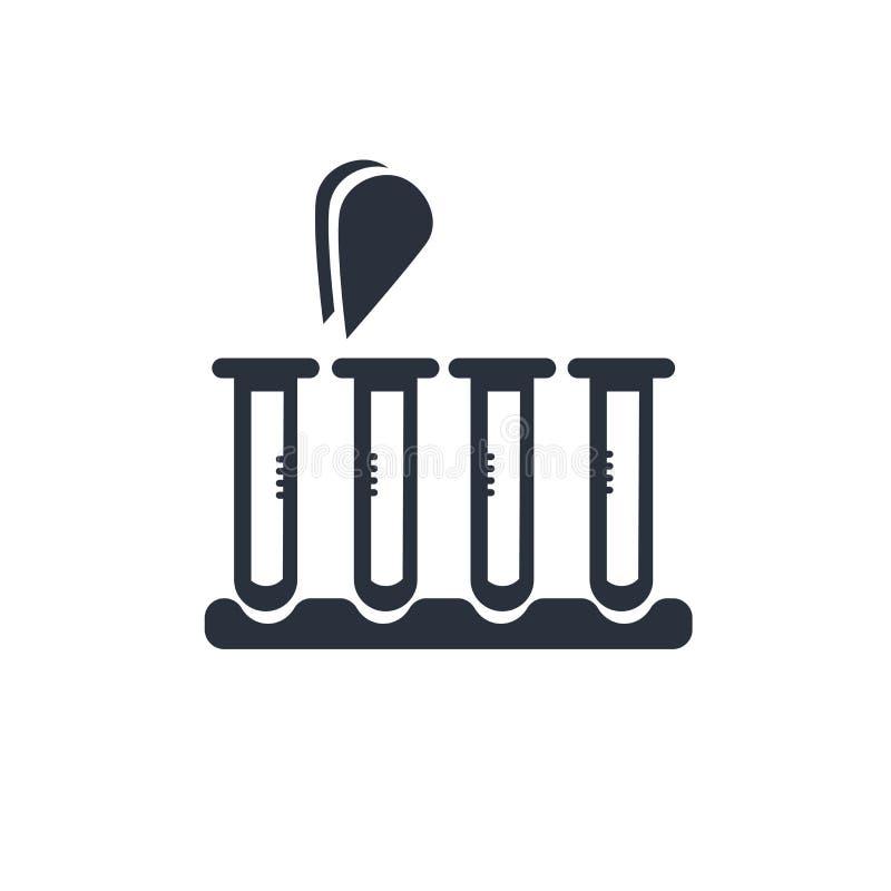 Medicinska prövkopior i tecken och symbol för vektor för provrörparsymbol som isoleras på vit bakgrund, medicinska prövkopior i p royaltyfri illustrationer