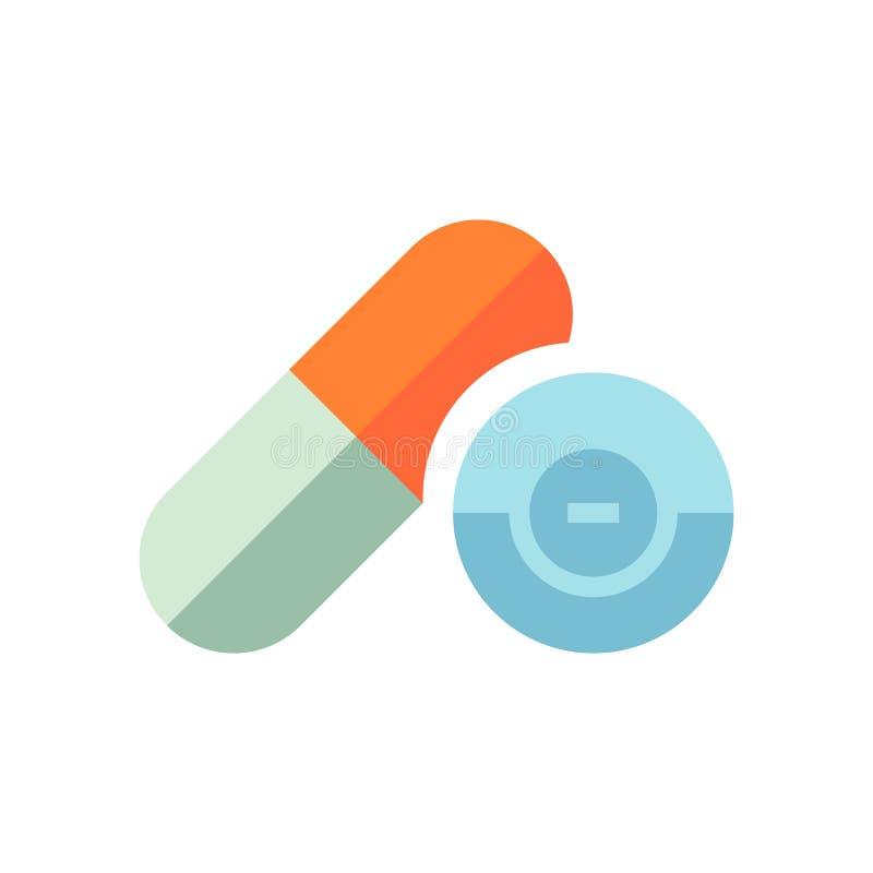 Medicinska preventivpillerar för vektor - sjukvårdsymbol - medicinsymbol, kapsel och drog - isolerad plan illustration stock illustrationer