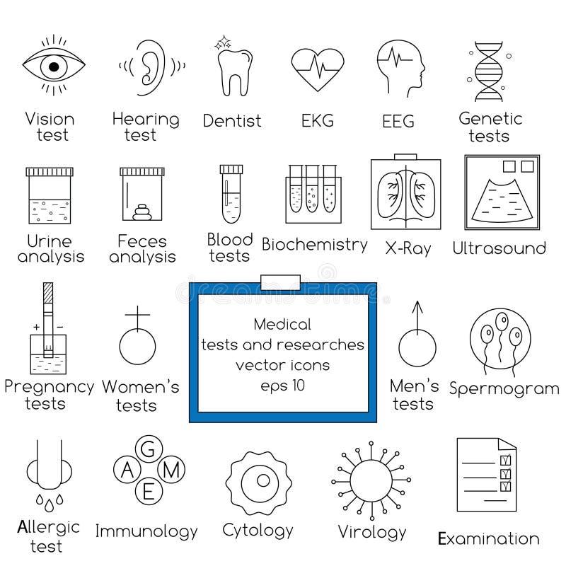 Medicinska prov och resarcheslinje symboler royaltyfri illustrationer