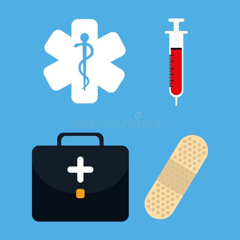 Medicinska sjukvårdsymboler stock illustrationer