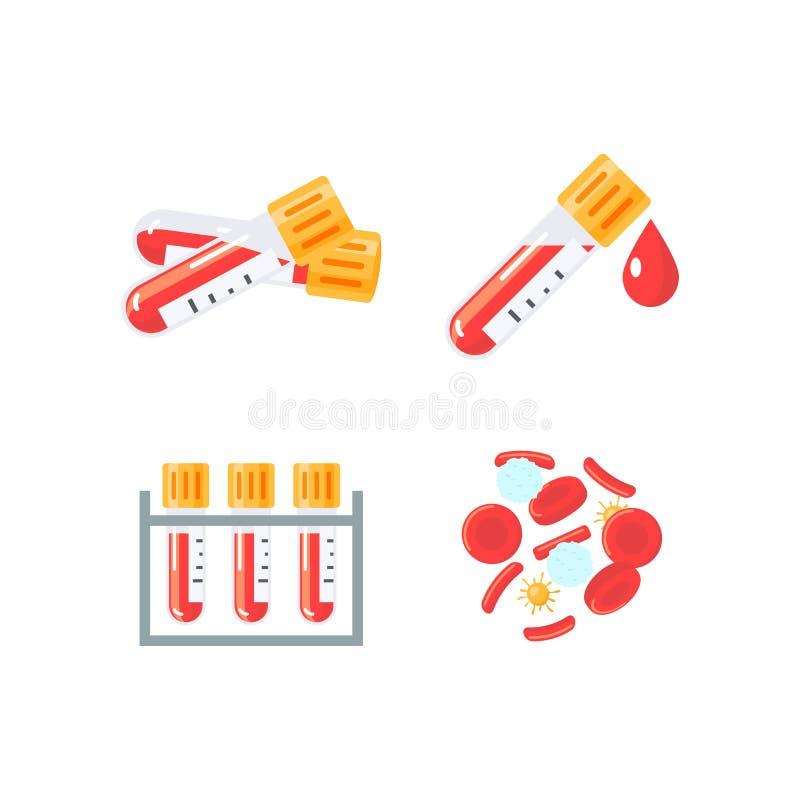 Medicinska symboler f?r vektor f?r det infographic blodprovet royaltyfri illustrationer