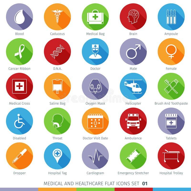 Medicinska symboler fastställd 01F royaltyfri illustrationer