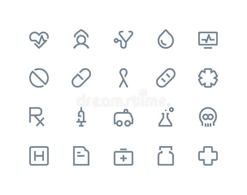 medicinska symboler Linje serie stock illustrationer