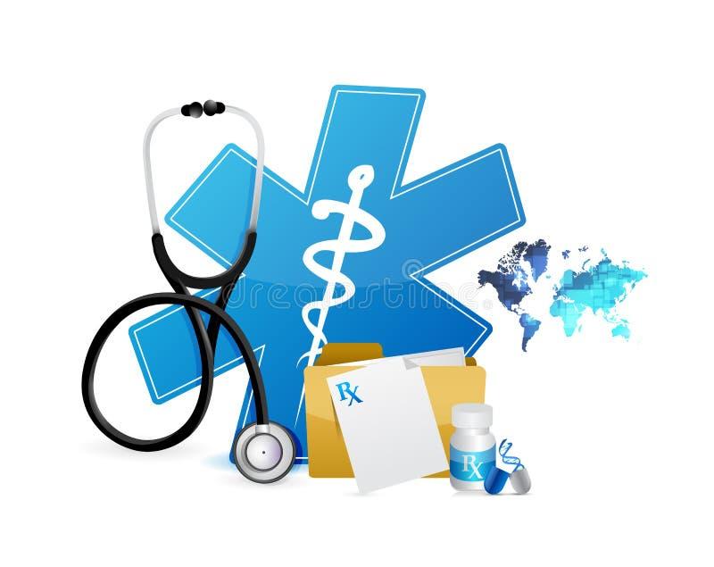 medicinska symboler och symbolillustration royaltyfri illustrationer